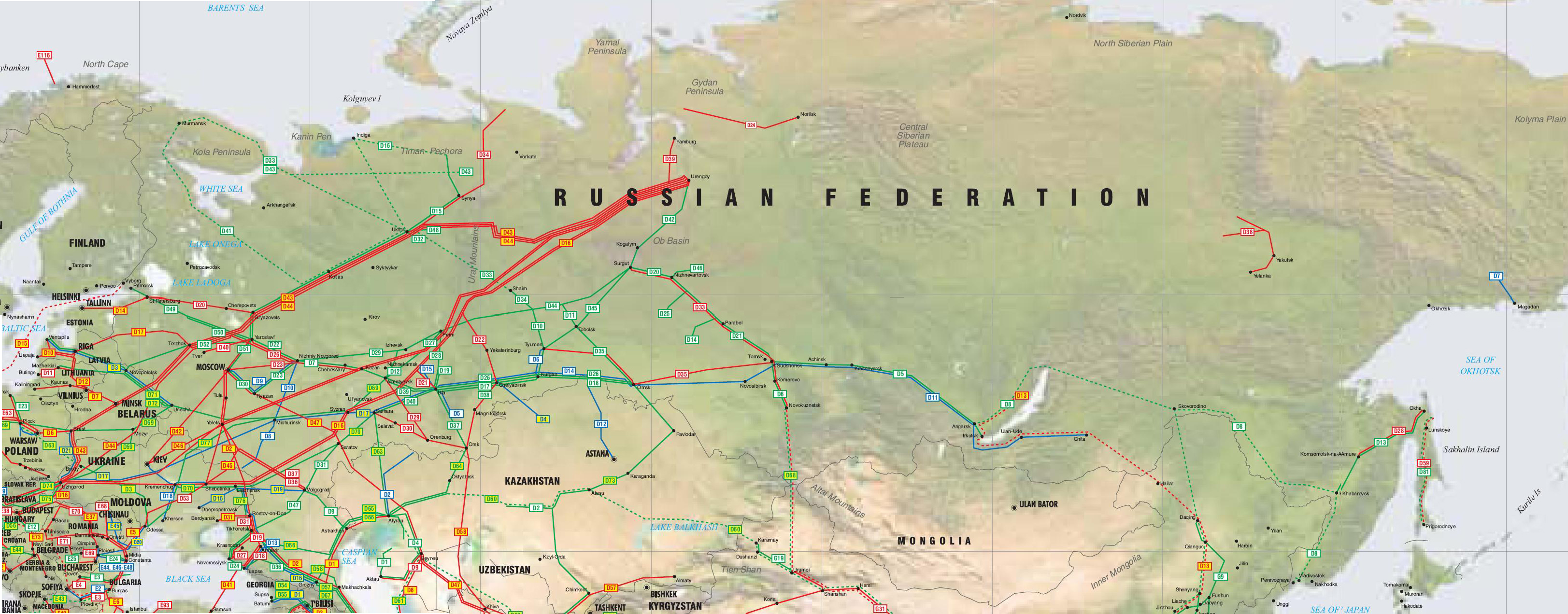 Russia - Former Soviet Union Pipelines map - Crude Oil (petroleum ...