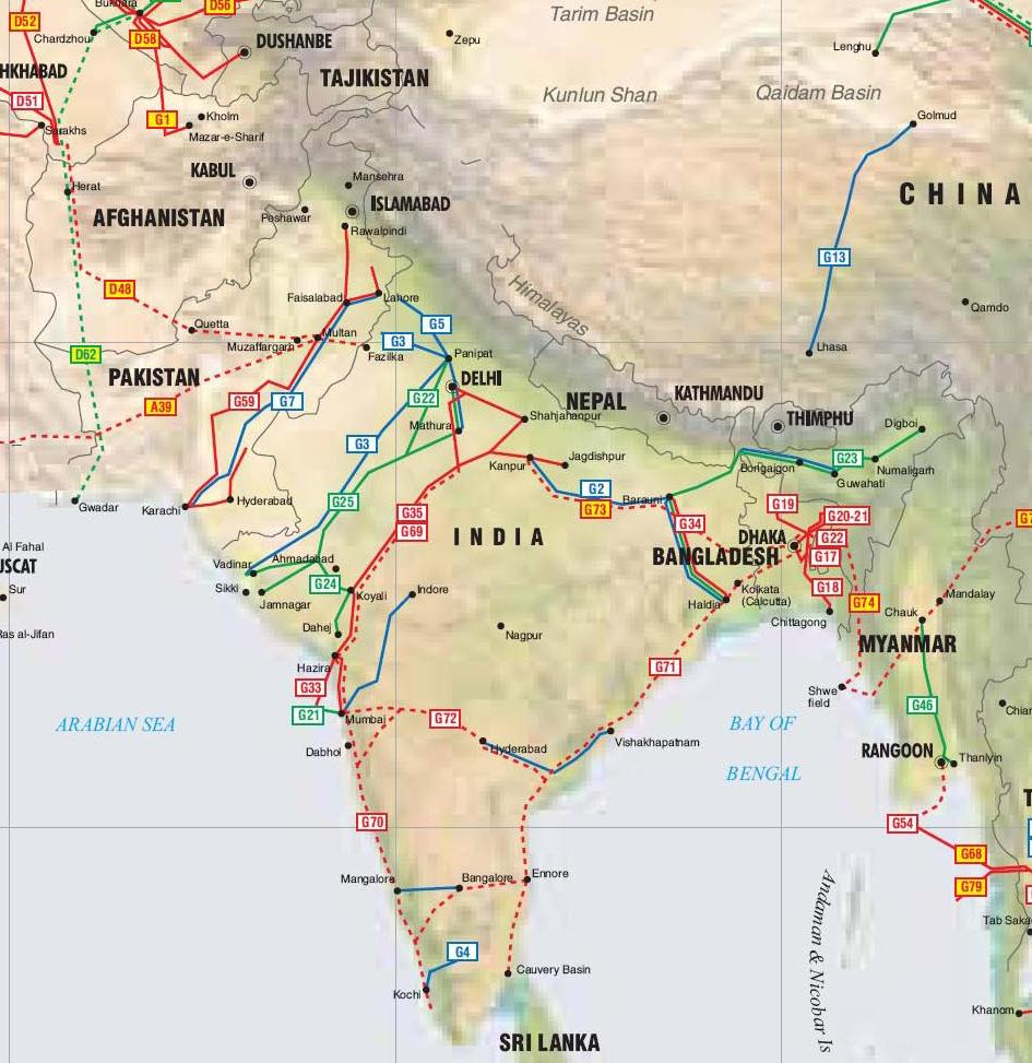 South Asia Pipelines Map Crude Oil Petroleum Pipelines - South asia map