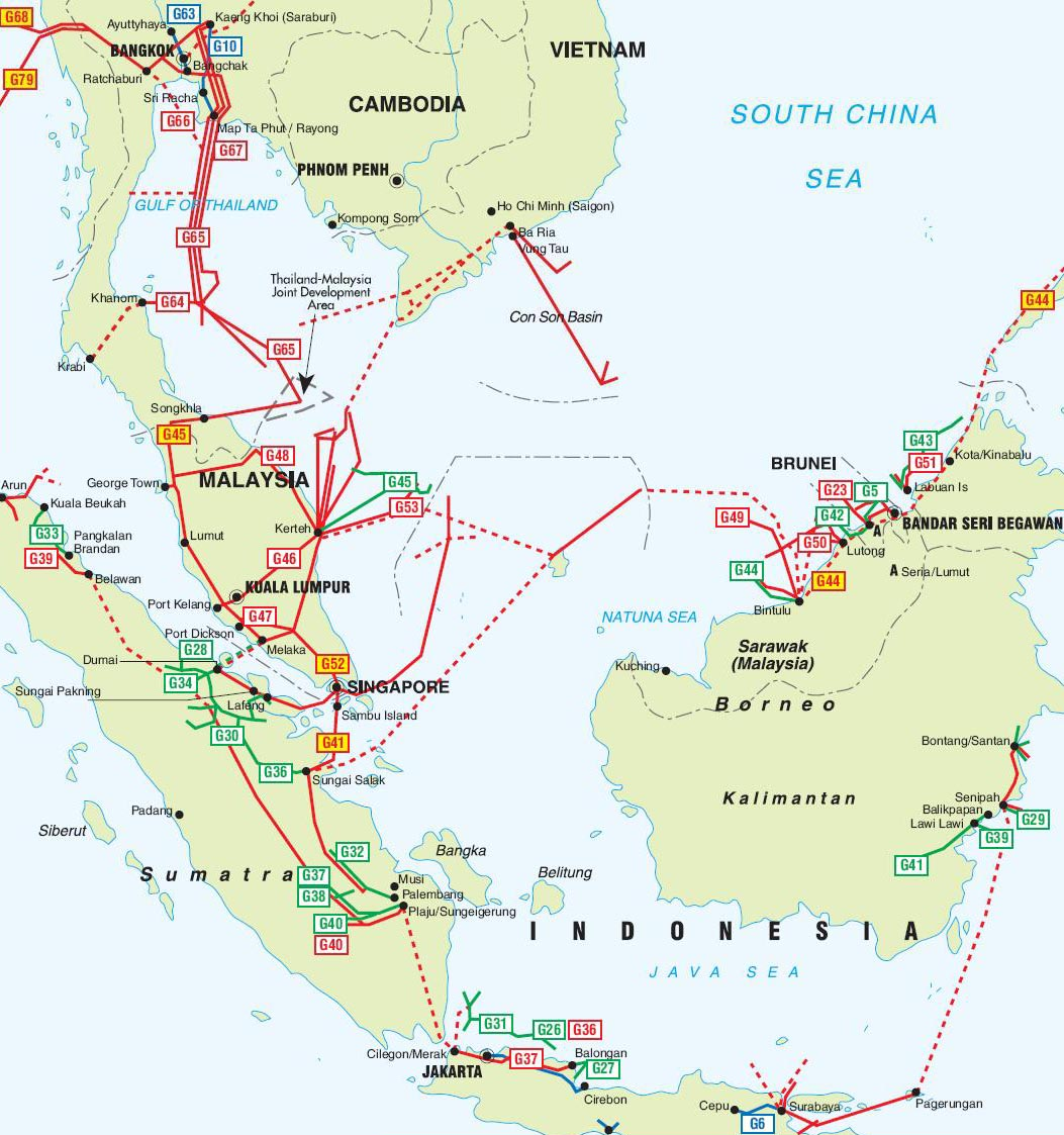 Southeast Asia Pipelines map Crude Oil petroleum pipelines