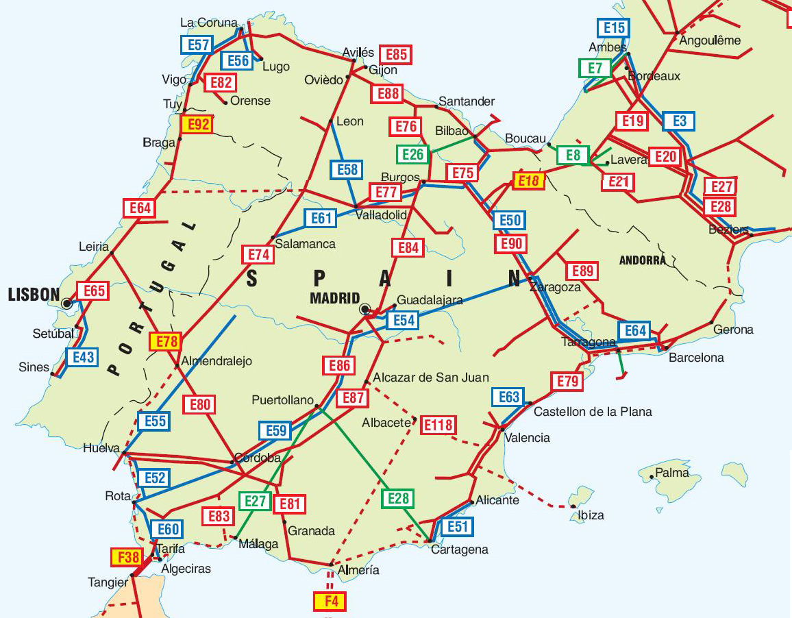Spain And Portugal Pipelines Map Crude Oil Petroleum Pipelines