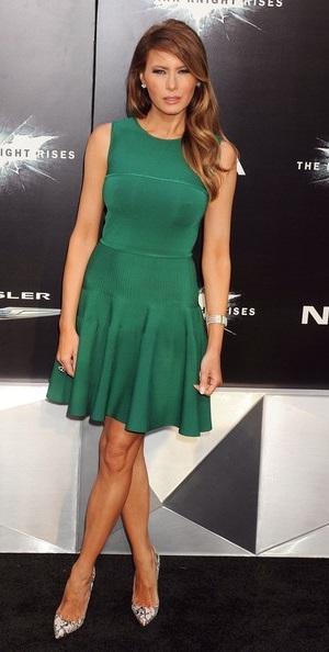 3e1b15c3208 Melania Trump cut a sleek figure in her above-the-knee green pleated dress