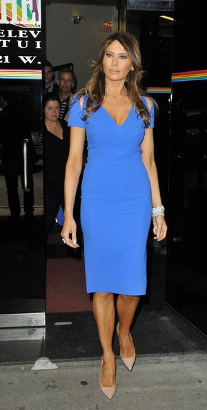 bd233e65fc2 Melania Trump in blue cocktail dress after her appearance at the Wendy  Williams Show