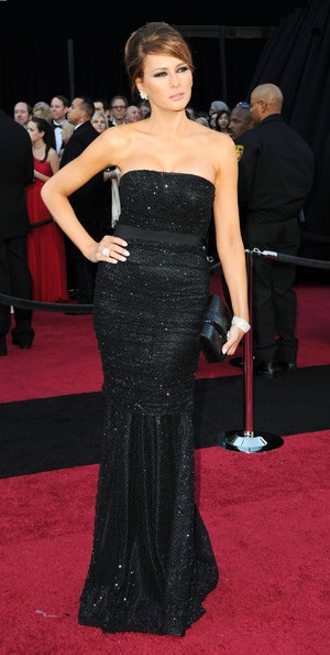 777410f0fb Melania Trump was a knockout in her strapless sequined black evening dress  that showed off her