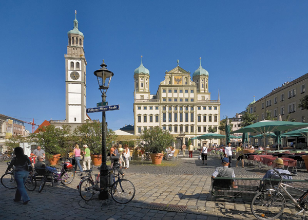 town hall and perlach tower in augsburg lech of bavaria germany photo. Black Bedroom Furniture Sets. Home Design Ideas