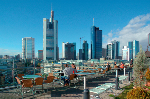 View Of The Skyline From Kaufhof Department Roof Top Restaurant In Frankfurt Am Main Germany Photo
