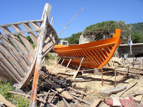 Boat building, Drakai, Samos island, Greece Photo